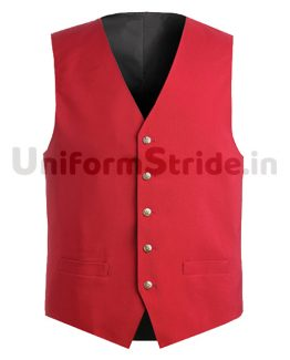 Hotel Waist Coat Unisex Red Waiter Vest HO1005