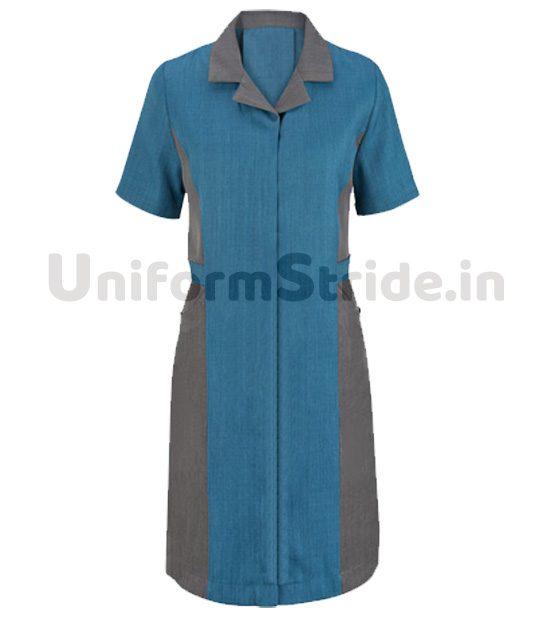 Women House Keeping Tunic Long Blue Top HO1011