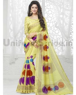 Shreyans Uniform Saris Cotton Silk Zari Border SHS118