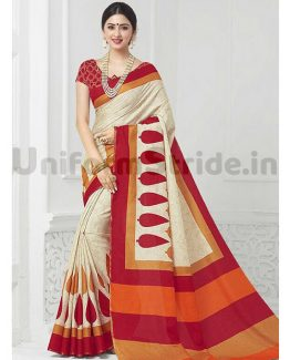 Office Uniform Sarees Printed Receptionist Staff SHS07