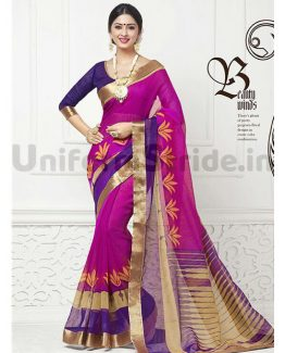 Printed Uniform Sarees College Schools Wear SHS733