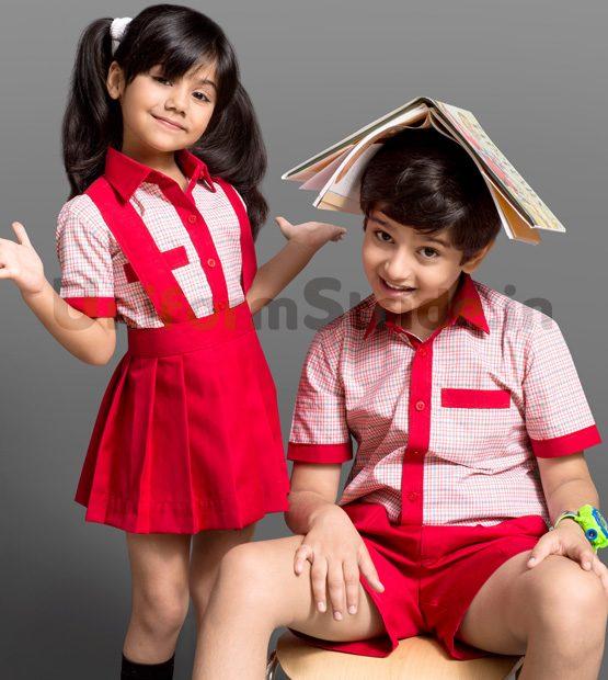 Kids All School Uniform Checkered Shirting HU1
