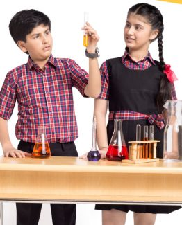 Kids Cbse Board School Uniform Checked Design HU7