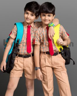 Kids School Uniform Checks Beige Shirting HU3