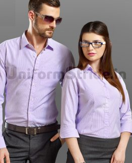Front Office Uniform Blue Stripes Cotton Men Women HC4