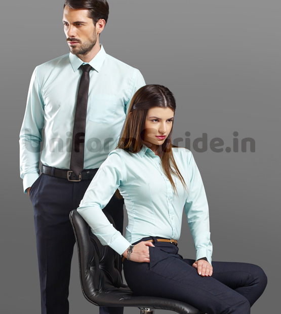 Manager Industry Office Uniform Blue Solid Shirts HC9