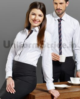 Corporate Office Uniform White Stripes Poly Cotton HC3